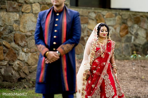 Lovely Indian bride walking to meet the groom.