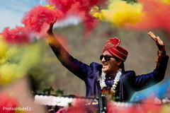 Charming Indian groom at his baraat celebration.