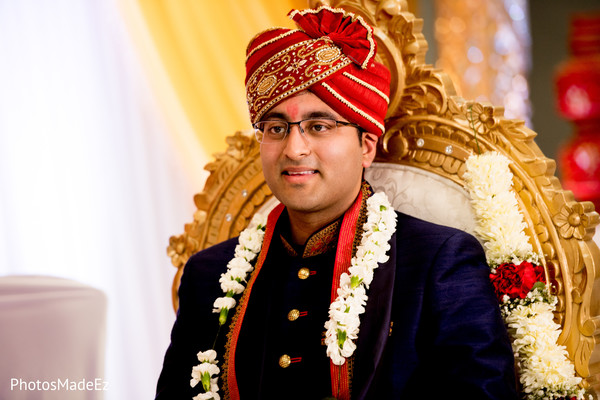 Enchanting Indian groom waiting for bride capture.