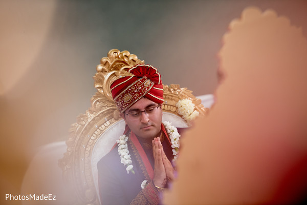 Dreamy capture of Indian groom at his ceremony celebration.