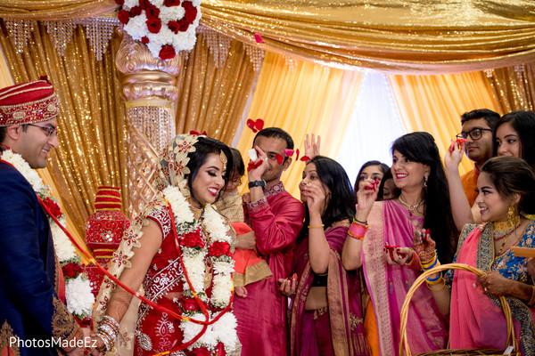 Mangal Phera when bride and groom walk around the fire.