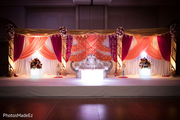 Marvelous Indian wedding reception stage decor.