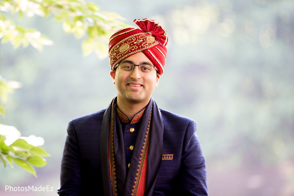 Charming Indian groom out doors capture.