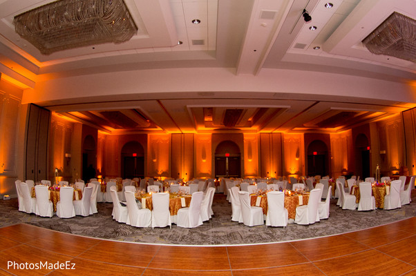 Magnificent Indian wedding reception table and lights decor.