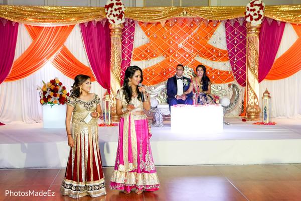 Indian wedding reception speech photo.