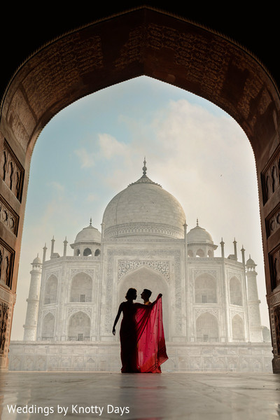 Artistic shot of Indian bride and groom