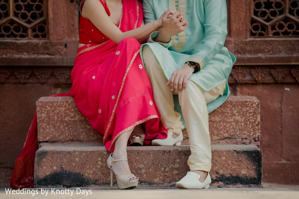 Indian bride and groom's wardrobe details
