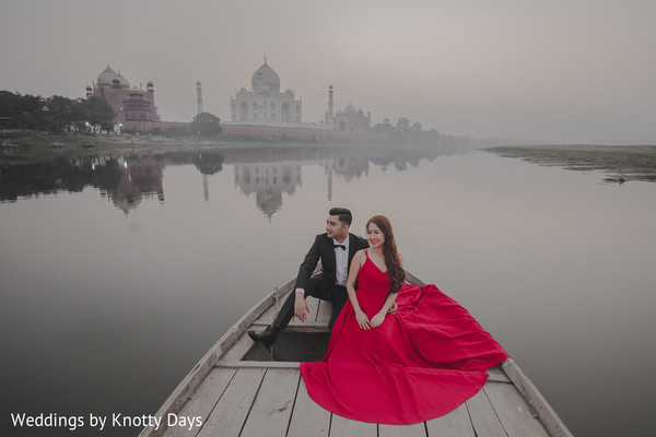 Stunning shot of Indian couple in the boat