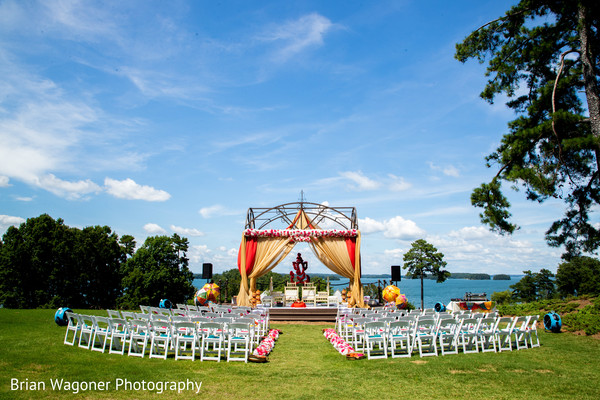 Overview of the Indian wedding ceremony outdoor decor