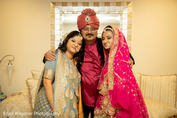 Lovely capture of Indian bride and family prior to the ceremony