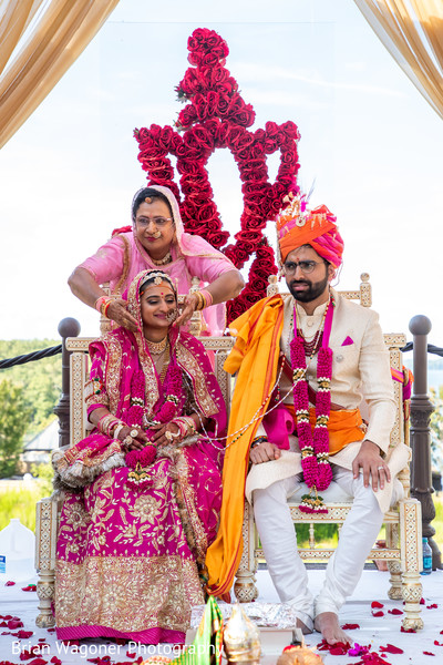 Indian bride and groom at the aisle