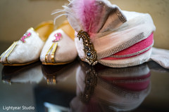 Indian groom's shoes and turban for wedding ceremony.