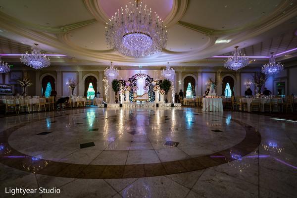 Stunning Indian wedding reception dance floor capture.