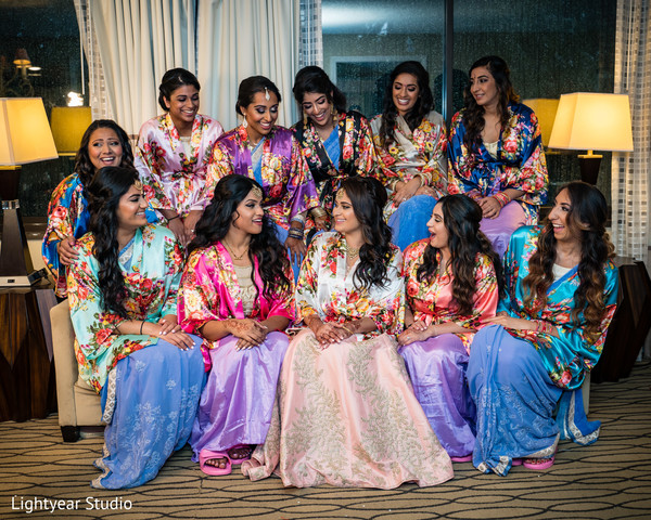 See these gorgeous Indian bridesmaids with maharani getting ready.