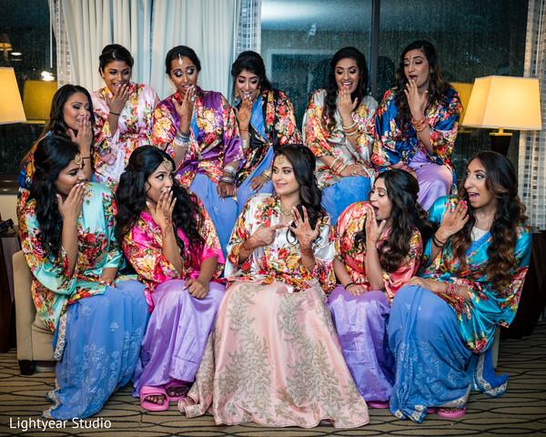 Indian bride with bridesmaids capture.