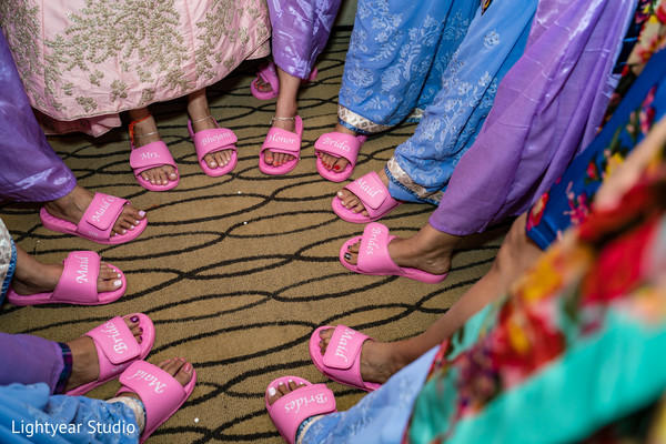 Personalized Indian bride and bridesmaids slippers.