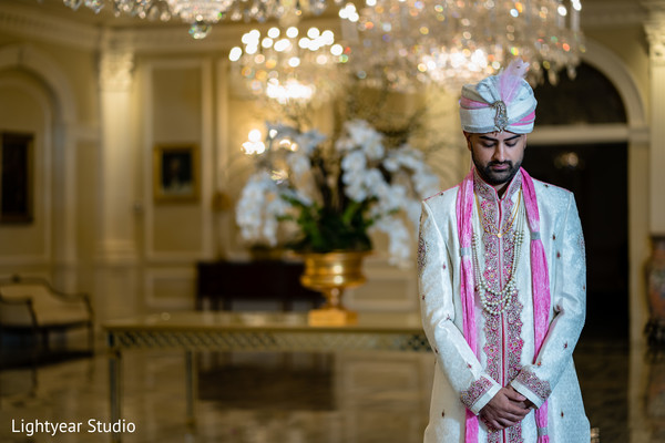 Charming Indian groom waiting for bride.