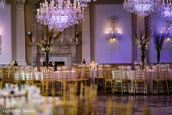 Magnificent Indian wedding reception lights decor.