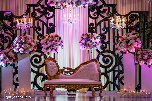 Stunning Indian wedding stage flowers decor.