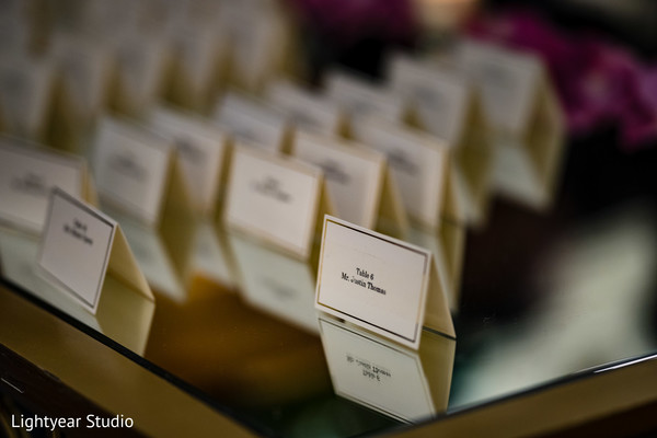 Closeup capture of Indian wedding seating cards.