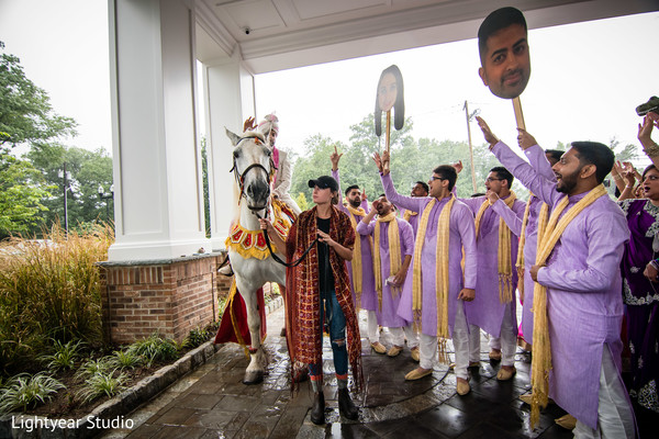Indian groom arriving to his baraat celebration.