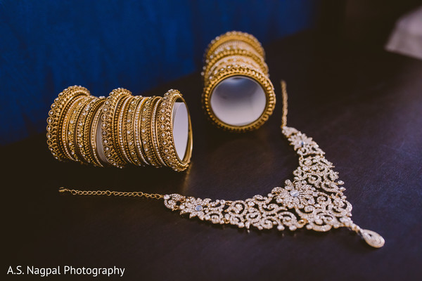 Closeup capture of Indian bridal jewelry.