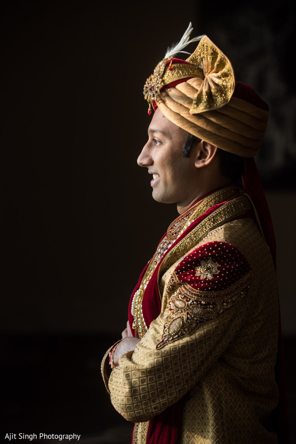 Portrait of elegant Raja wearing the sherwani