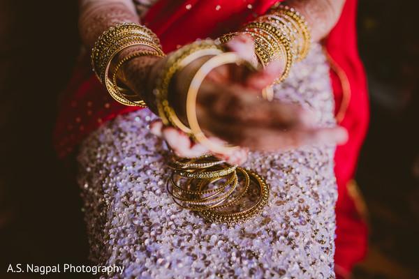 Closeup capture of Maharanis ceremony bangles.
