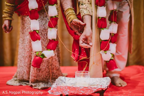 Closeup capture of Indian wedding ceremony ritual.