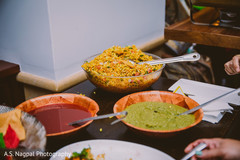 Indian wedding rice and  sauces.