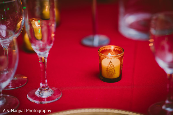 Romantic Indian wedding candle decoration.
