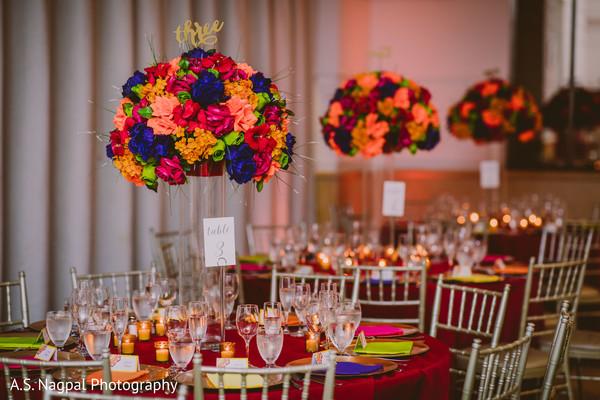 Delightful Indian wedding reception table centerpiece decor.
