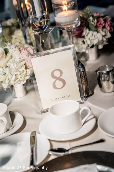 Floral arrangement details at the table