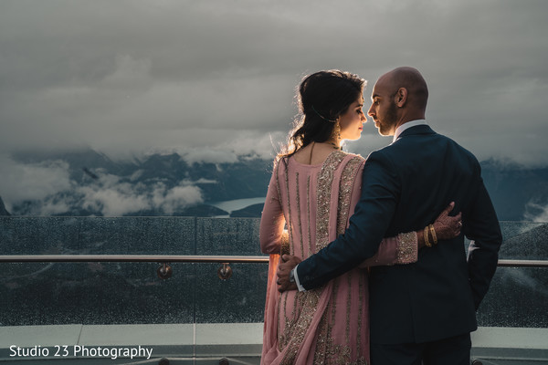 Romantic moment between the Indian couple