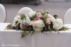 Floral arrangement details at the ceremony