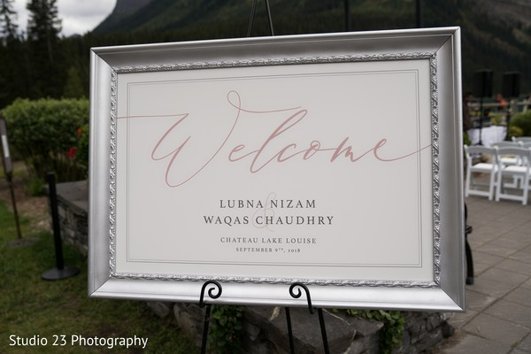 Welcome sign for the guests
