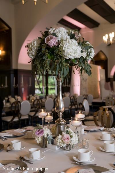 Floral arrangement details for the Indian wedding