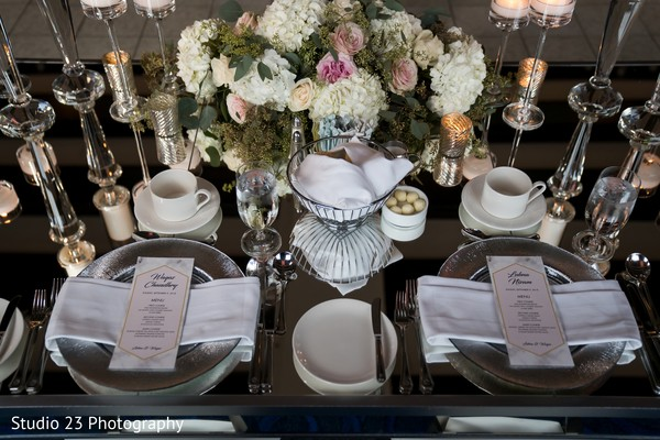 Floral arrangement details for the reception