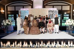 Indian newlyweds posing with the guests