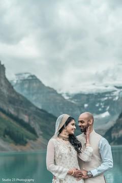 Indian newlyweds enjoying the lake