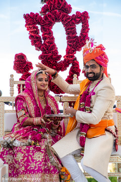 Amazing shot of Indian newlyweds outdoors