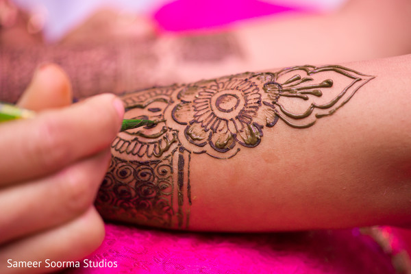 Close up details of artistic mehndi