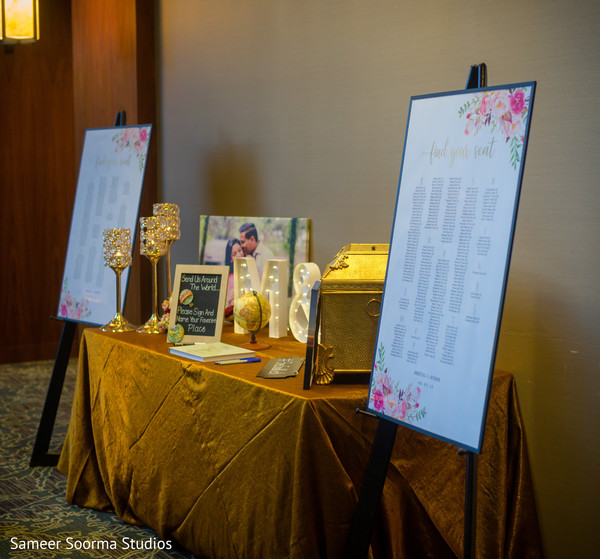 Guest book details of the Indian wedding