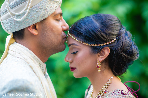 Beautiful moment between Indian bride and groom