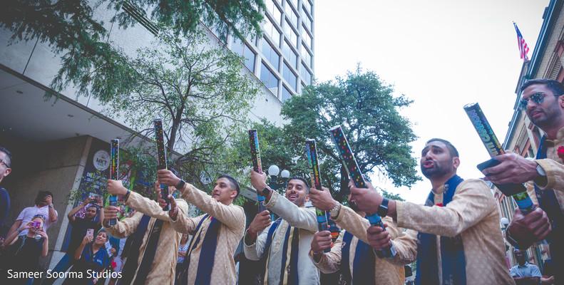 Indian groomsmen during the baraat