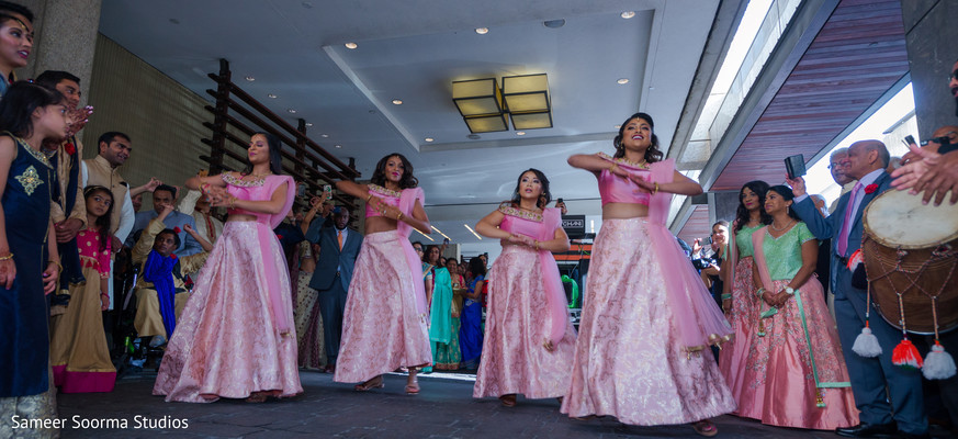 Bridesmaids performing a choreography