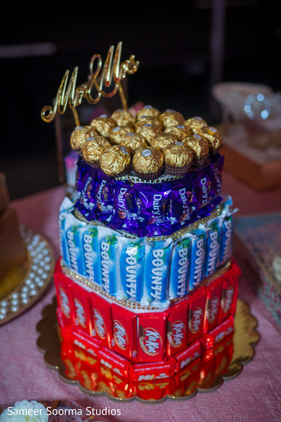 Creative candy cake ready for guests