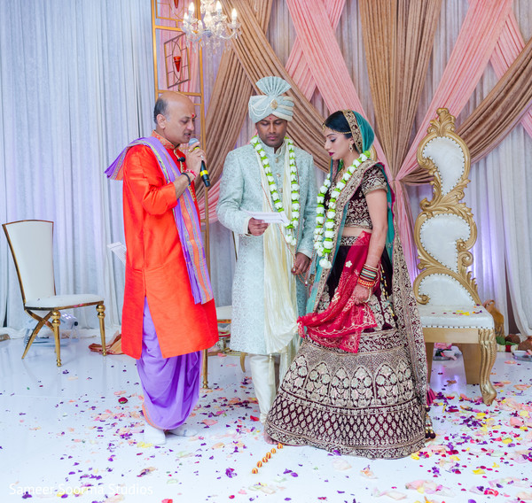 Indian couple reading the vows