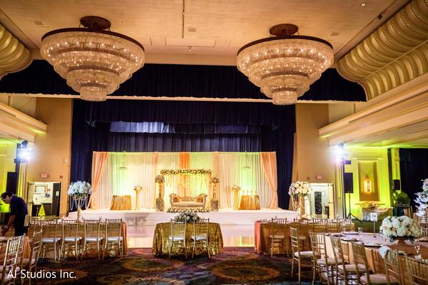 Stunning Indian wedding reception stage decor.
