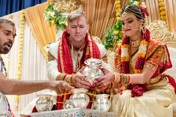 Indian couple at their ceremony rituals.